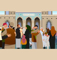 muslims embracing each other after prayer in vector image vector image