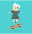 old woman jump with skateboard vector image