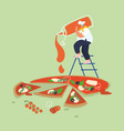 people man baking and eating huge pizza male vector image vector image