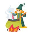 red hair witch cooking the potion in the boiler vector image