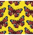 Seamless pattern with peacock butterflies vector image