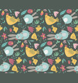 Seamless pattern with rabbits chicken and