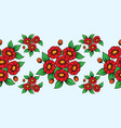 seamless red flowers brush vector image vector image