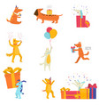 set festive cute dogs cheerfully celebrating vector image vector image