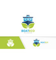 ship and leaf logo combination boat and vector image vector image