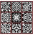 Square Monochrome Decorative Tiles Set vector image