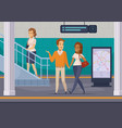 subway underground passengers cartoon icons vector image vector image