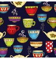 Tea coffee and sweets doodle seamless pattern vector image