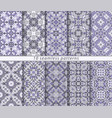 ten classic seamless blue patterns vector image
