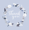 thank you greeting card with floral wreath vector image