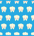 tooth with smiling face cartoon style seamless vector image