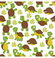 turtle seamless pattern wild cute tortoise print vector image