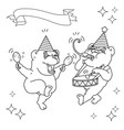 two funny bears in party hats black line on whit vector image