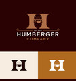 vintage burger logo design vector image vector image