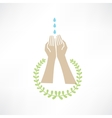 water dripping on your hands around which leaves vector image