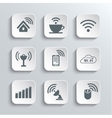 Wireless and Wi-Fi Web Icons Set vector image