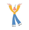 woman dancing at party in hat with smile vector image