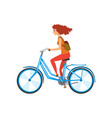 young woman riding bicycle sport and physical vector image