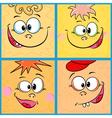 Four funny cartoon faces vector image