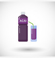 acai berries juice flat icon vector image vector image