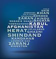 Afghanistan map made with name of cities vector image vector image