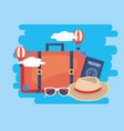 air balloons with travel baggage and passport vector image vector image