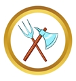 Ancient axe and trident icon cartoon style vector image vector image