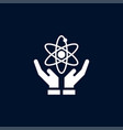 atom on hand icon simple school element symbol vector image