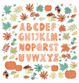 autumn decor alphabet color vector image vector image