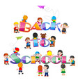 back to school text drawing with student vector image vector image