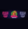 basketball neon sign royal basketball vector image vector image
