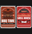 bbq party and grill house restaurant posters vector image vector image