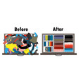 before and after tidying up kids wardrobe vector image vector image