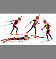 biathlon male player playing in different vector image vector image
