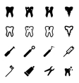 black dental icon set vector image