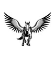 black icon flying pegasus vector image