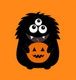black monster silhouette holding pumpkin cute vector image vector image