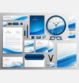 blue business stationery set for your brand vector image vector image