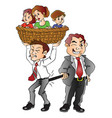 boss pulling back employee from family vector image vector image