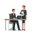 businessman and woman works together vector image vector image