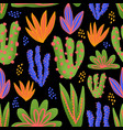 cactus seamless pattern cacti in bright vector image vector image