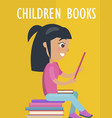children books poster with girl and textbooks vector image vector image