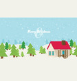 christmas card with house vector image vector image