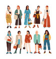 collection stylish young women dressed in vector image vector image