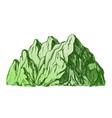 color high mountain crag landscape hand drawn vector image