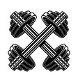 crossed heavy athletic barbells in engraving vector image