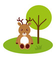 cute and tender reindeer in the jungle character vector image vector image