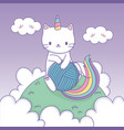 cute cat with rainbow tail and wool ball kawaii vector image vector image