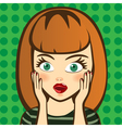 Emotion Surprised brown-haired woman Expression vector image vector image