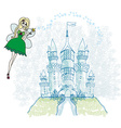 fairy flying above castle vector image